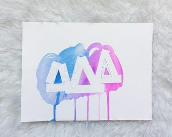 ABSTRACT watercolor painting, pink +blue