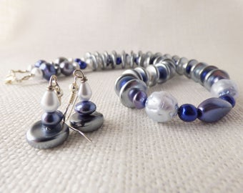 Blue and Gray Glass Chunkey Necklace and Earring Set