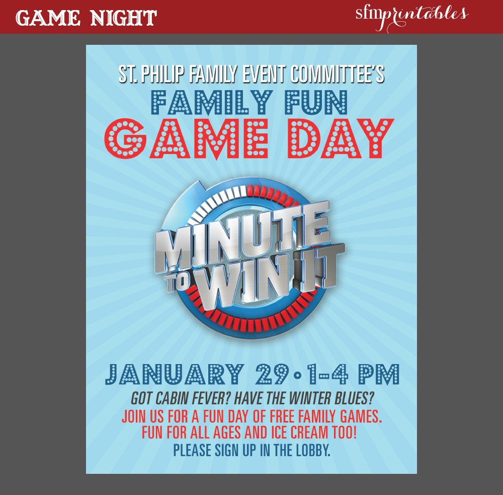 Minute To Win It Invitation Template - Free Custom Invitation Template Design | Verrado Drift