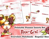Romantic Rose Girl - printable Inserts Set for Travelers Notebook REGULAR - Midori, Fauxdori, Planner - 1 Day on 1 Page - 1 Week on 2 Pages