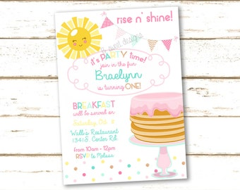 Rise n Shine Pancake Breakfast Birthday Invitation - Sunshine Invite - Breakfast Party