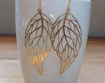 Gold plated delicate leaf earrings