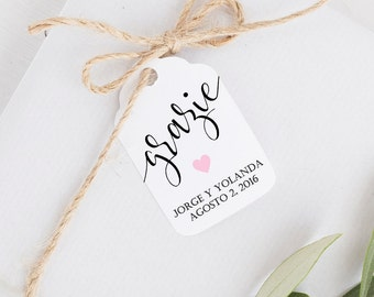 Grazie tags (30) - Italian wedding favors - Wedding thank you tags - Wedding tags - Wedding gift tags - Wedding favor tags