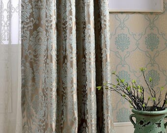 A Pair Of Damask Curtains Made To Order Dense Jacquard Polyester Blend Fabric Luxury