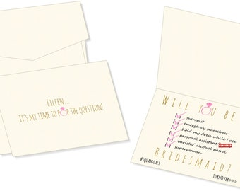 Will you be my Bridesmaid Cards - Personalized