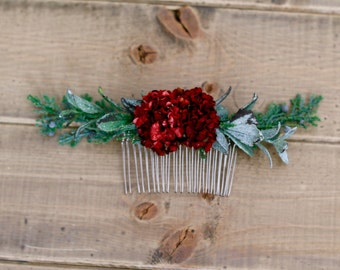 Boho Burgundy And Juniper Berry Floral Hair Comb