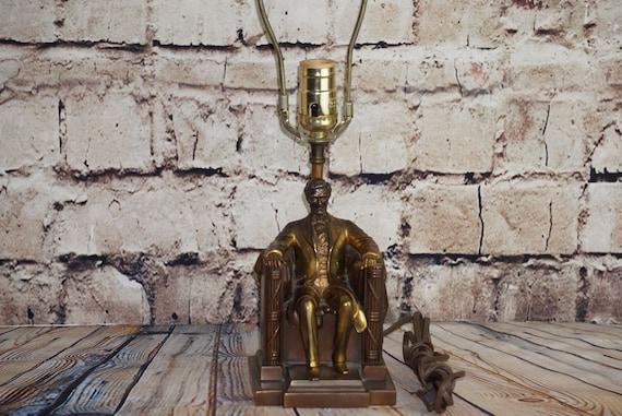 Rare Jennings Bros JB Abraham Lincoln Bronze Clad Memorial Lamp Light