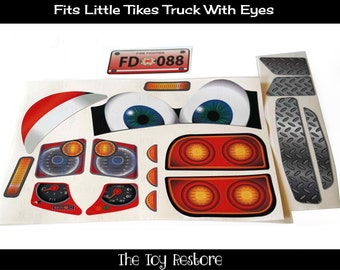Fire Truck boy NL : New Replacement Decals Stickers for Little Tikes Tykes Cozy Coupe Truck with Eyes