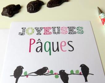Carte Joyeuses Pâques - Oiseaux et nid - rose et vert - pour petits - fête de pâques- Oiseaux- nid d'oiseau-Nid- Oiseaux-carte