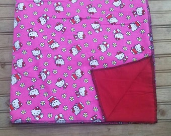 Pink Hello Kitty and flower baby receiving blanket