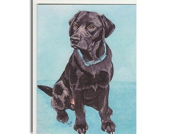 Black Lab Notecard - Lab Cards - Dog Stationary
