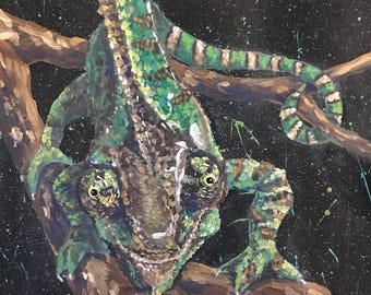 Original Acrylic Chameleon Painting