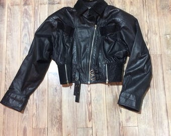 Super cute cropped leather jacket