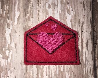 Set of 4 Pink Red Full of Love Heart Envelope Mail Glitter Valentines Valentine Valentine's Day Feltie Felt Embellishment Bow!