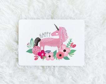 "Card ""Happy unicorn"""