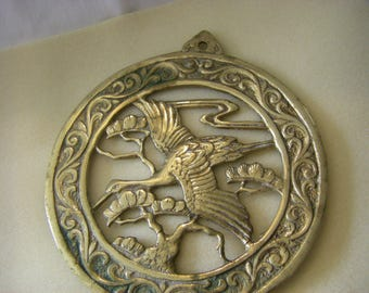 BRASS Great White EGRET trivet  very unusual /wall hanging.