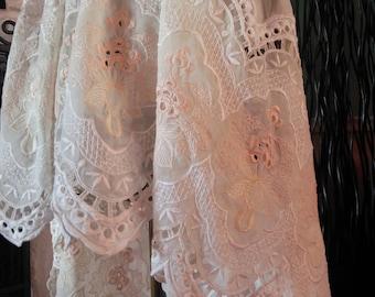 Women's handmade vintage inspired lace skirt / asymmetrical hem lace skirt / Mori skirt / Lagenlook skirt / fairy skirt / cottage chic skirt