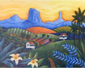 Glasshouse Mountains Painting, Sunshine Coast Painting, Tropical Queensland Art, Glasshouse Mountains, Australia Art, Queensland Painting,
