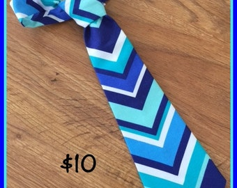 Little boy Handmade Necktie / Blue Chevron Tie