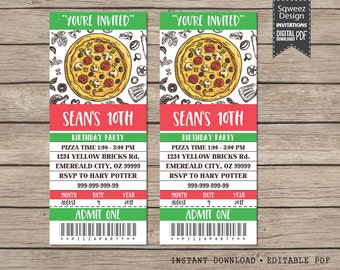 Pizza Invitation, Pizza Party Invitation, Chef Party Invitation, Digital Printable File  - Instant Download Editable PDF