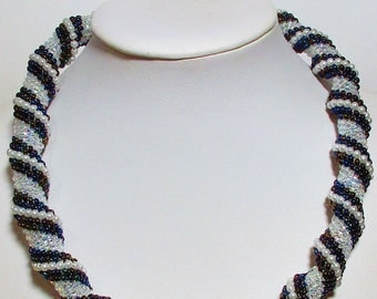 Technical CELLINI spiral NECKLACE handmade semirigida beads glass beads