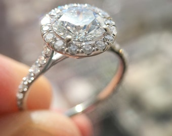 1.25 Carat Halo Ring, Halo Diamond Ring, Diamond Engagement Ring, Engagement Gift For Her, Diamond Gold Ring, Engagement  FREE SHIPPING