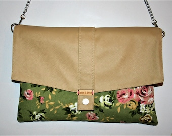 Floral canvas and vegan leather clutch bag