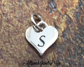 Initial Charm, Letter Charm, S Charm, Letter S Charm, Heart Letter Charm, Alphabet Charm, Sterling Silver Charm