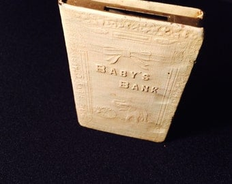Antique Baby Bank, Metal Book Bank by Zell Products