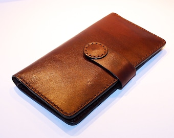 Leather wallet. Handmade long wallet. Leather travel wallet. Brown large wallet. Great gift.