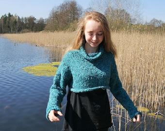 Short, soft, nice, cozy, melange sweater, size XS-S-M, wool and acrylic