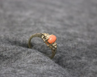 Sterling Silver, Vintage Ring with Coral Stone