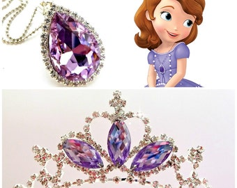 Sofia The first Tiara and Magic Amulet PRINCESS SOFIA  Crown & Princess Sofia Necklace The Perfect Christmas Gift ,Princess Sofia Headband