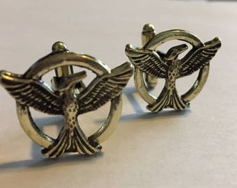 Men's Cuff Link - The Hunger Games Mockingjay Cuff Link - Antiqued Color