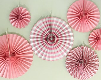 6 Variety Sizes Pattern Pink Pompoms Decoration Tissue Paper Fans Wedding/Party