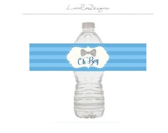 Little man baby shower, baby shower water bottle labels - Digital File