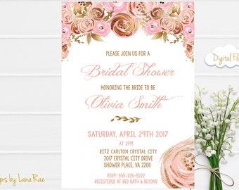 Bridal Shower Invitation, Pink and Gold Bridal Shower Invitation, Floral Bridal Shower Invitation, Spring Wedding - Digital File