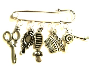 Hairdressing kilt pin brooch~apprentice hairdresser~Hair and beauty brooch gift