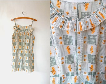 Checked floral dress / white / yellow / orange / bouquet print / vintage / tie straps / cotton / ruffle collar / pleated / summer dress