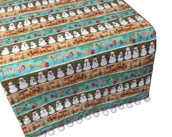 Christmas Table Runner, Holiday Table Runner, Snowman Table Runner
