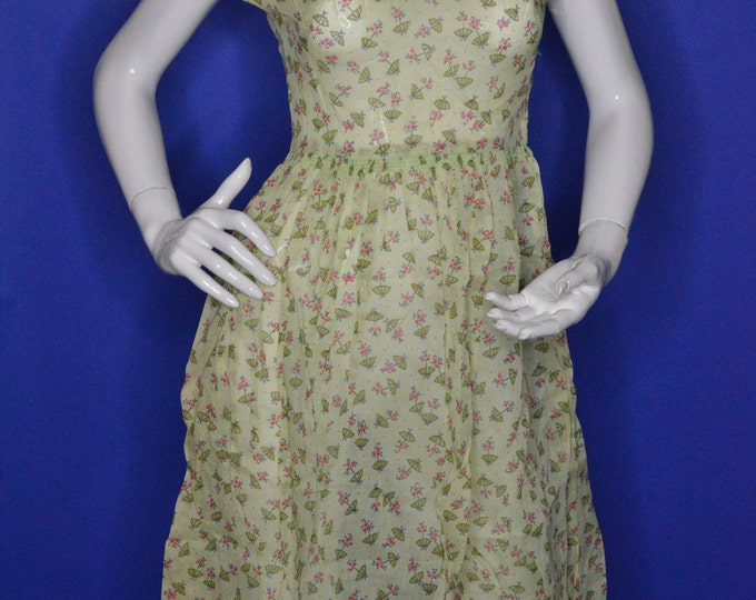 Vintage Estate 1950s Green Grey Salmon Pink White Abstract Novelty Print Day Dress