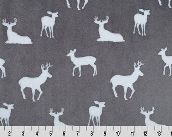 Premier Deer To Me Cuddle Graphite Minky Fabric (Shannon Fabrics) Gray Silver White
