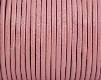 2mm Pink Leather Cord 2 Yards
