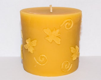 """Solid Beeswax Bee Pillar Candle 3"""" x 3"""" (7.62 cm x 7.62 cm)"""