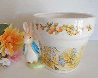 Planter Beatrix Potter Pot Peter Rabbit Story Book Character Figurine Vintage 1997 Teleflora Gift Spring Easter Home Decor