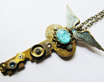 Steampunk Winged Antique Key Pendant Necklace with Vintage Czech Aquamarine Stone, Antique Key Necklace, Steampunk Necklace, KP19