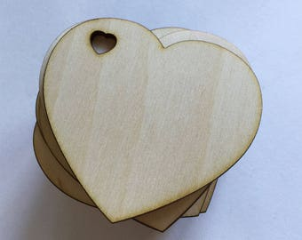 50 -  1/8 inch thick 3 inch wood hearts - unfinished wooden hearts with heart shaped hole for wedding and parties