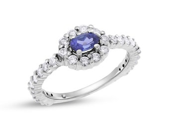0.84 Ct. Natural Oval Tanzanite and Diamond Halo Promise Ring In Solid 14k White Gold