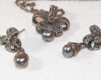 Sterling Silver Bow Necklace And Earring Set With Black Pearls And Marcasite