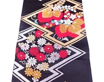 japanese kimono vintage fukuro obi woven paulownia and kiku arabesque